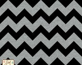 Girl Charlee Black and Gray Chevron Jersey Knit Fabric By the Yard