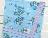 Reversible Baby Blanket Lavender Flannel with Vintage Blue Sheet