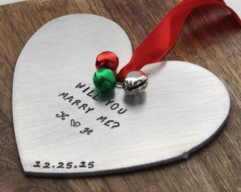 Will You Marry Me Ornament Personalized Marriage Proposal Engagement Proposal Marriage Proposal Prop Christmas Proposal Christmas Day