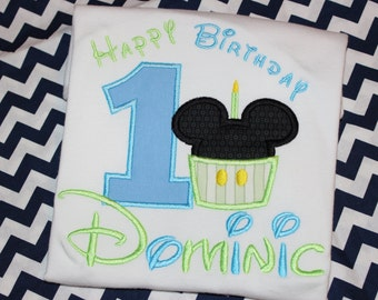 Baby Mickey first birthday shirt for boy with cupcake- any number