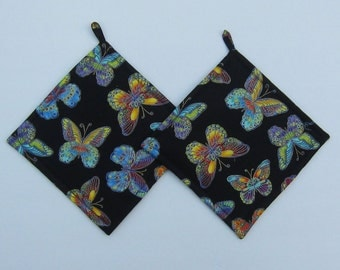 Multi-colored Glimmering Metallic Butterflies on Black Pot Holders Set of Two