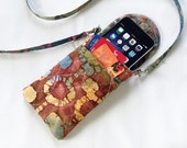Iphone 6 Case Phone Gadget Case Detachable Neck Strap Quilted Indian Batik Browns Rust Blue