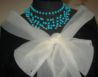 Free Shipping Outstanding Cascading Turquoise Beads Articulated Choker Bib Necklace