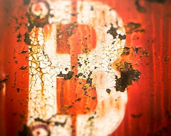 Urban Art, Photography, Color Orange, Chicago street photography, abstract, letter B, wall art print, home decor, urban decay, typography