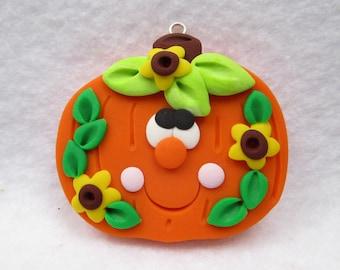 Polymer Clay Pumpkin - Fall Pumpkin with Sunflowers - Halloween Pumpkin - Thanksgiving Pumpkin - Pendant or Bow Center - Made to Order