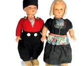 """Vintage HOLLAND DOLL Pair Boy Girl Large 17.5"""" Tall Antique Dolls Great"""