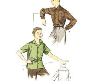 1950s Boys Shirt Pattern Advance 6814 30 Chest Sz 12