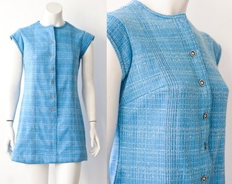1960's Blue Button Up Crew Neck Button Up Shift Dress M