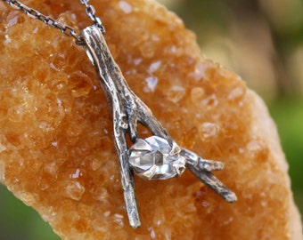 Herkimer Diamond branch gemstone pendant,quartz crystal,sterling silver,twig necklace,natural raw stone,handmade.
