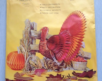 Vintage unopened Thanksgivingg honeycomb turkey decoration