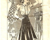 Vintage 30s 40s Skirt and Blouse Pattern XS S 30 bust 26 waist Puff Sleeves Lindy 1930s 1940s