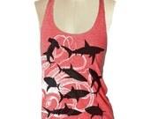 Sharks Red Tank top --- Women's Racerback Tank Shirt Tri-Blend S M L Xl Xxl vintage soft athletic tank top ladies  yoga shirt skip n whistle