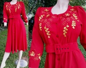 80s Dress/ Embroidered Dress/ Vintage Dress in Red/ Belted Shirtdress/ Vintage Red Dress by