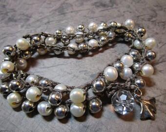 Crochet Wrap Bracelet Triple Wrap x3 or Necklace Nylon Cord Freshwater Pearls