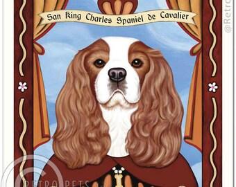 8x10 Cavalier King Charles Spaniel Art - Patron Saint of Royalty -  Art print by Krista Brooks