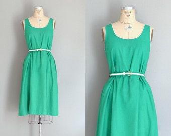 vintage 1970s day dress • green dress • 70s sun dress • medium large