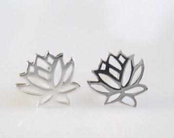 Sterling Silver Lotus Earrings- Sterling Silver Lotus Studs-Lotus Post Earrings EGS-SD11