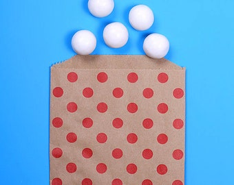 Brown Favor Bags with Red Polka Dots, Valentine's Treat Bags, Wedding Favor Bags, Candy Buffet Bags, Goodie Bags, Christmas Gift Bags (12)