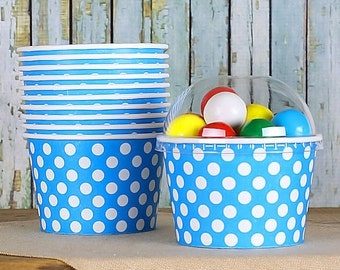 Polka Dot Blue Ice Cream Cups with Lids, Sundae Cups, Paper Ice Cream Cups, Fruit Cups, Large Brownie Sundae Cups, Treat Cups (8 oz - 18 ct)