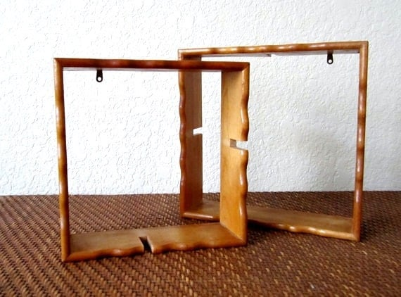Interlocking Hanging Pine Wall Shelf Knick Knacks What-Not