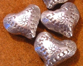 Fair Trade Silver Thai KAREN Hill Tribe Hand Crafted PUFF HEART  28mm Bead - (1) Hand Etched Hollow Bead