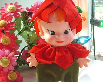 1968 Vintage UNEEDA Wishnik Vinyl Petal People TULIP  7 Inch Large Chubby Pixie Elf Doll - 47 Years Old