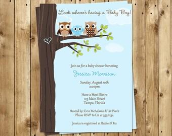 Owl, Baby Shower Invitations, Boys, Tree, Co Ed, Family,Coed, Blue, Hearts, Hoot, 10 Printed Invites, FREE Shipping, Customized