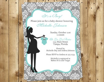 Baby Boy Shower Invitation, Chic, Modern Mom, French, Paris, Teal, Blue, Shabby, Damask, 10 Printed Invites & Envelopes, FREE Shipping