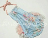 Ruffled Romper Halter Sunsuit - Vintage Floral- Baby Toddler Girl - Ruffles on Bottom Butt- Perfect for Spring Summer -Peach Blue Ivory Lace