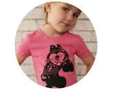 Roller Derby Skate T Shirt, Youth Girls Fitted TShirt, Hot Pink, Graphic Tee, Roller Skate Skull and Crossbones Cotton Clothing Hand Printed