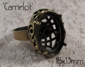 "18x13mm Adjustable Band Ring (unset) - ""Camelot"" - 1 pc - Antique Bronze : sku 07.24.15.2 - W35"
