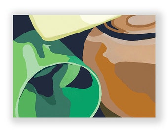 Original Oil Painting on Arches Cold Press Primed Paper, Abstract Bowl andCups, Green, Brown, Yellow, 22''x30''