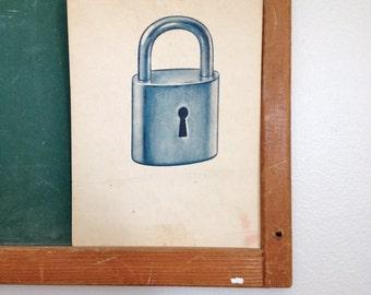 Vintage School Flashcard- Lock