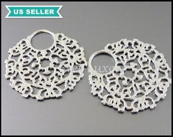 2 beautifully detailed elegant filigree pendants, matte silver brass metal, necklace pendant 1261-MR