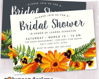 DIGITAL or PRINTED, Floral Bridal Shower Invitation, Daisy and Foliage Bridal Shower, custom color, script font