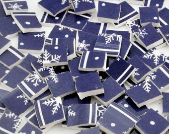 Broken China Mosaic Tiles - Blue- Snowflake - Recycled Plates - Set of 100