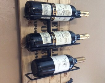 Wall Wine Rack made from  Reclaimed Explosive box