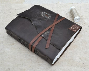 Boro Book - Rustic Leather Journal with Boro Stitching