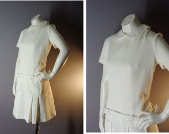 60s dress 1960s vintage WHITE PETER PAN collar drop waist pleat mod dolly dress