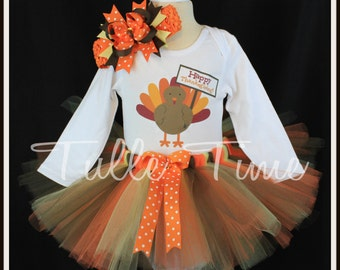 Baby's first 1st HAPPY THANKSGIVING  body suit onesie tutu dress outfit with bow sizes newborn, 0-3m, 3-6m, 6-12m 12m 18m