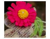 Bright Fuchsia Daisy & Feathers Hair Clip, Brooch Pin, or Headband. Handmade Christening Baptism Holiday. Birthday Princess Party Rockabilly