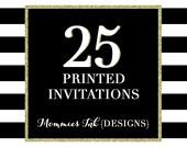 Set of 25 Printed Invitations / Envelopes, Printing Service, 25 Printed Holiday Cards, 25 Printed Christmas Cards