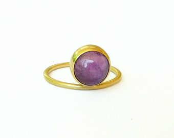 Amethyst Gold Ring Amethyst Ring with stone Gold Ring for women 18K gold Ring