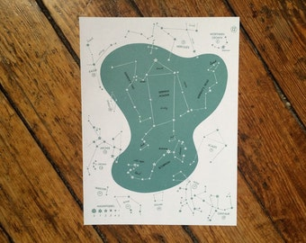 1966 CONSTELLATION STAR MAP original vintage celestial print - no. 12