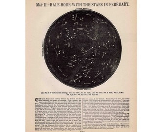 1910 FEBRUARY MARCH constellations star map original antique celestial print