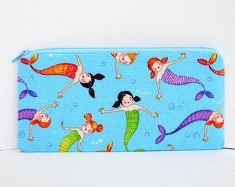 Pencil Pouch, Long Zippered Bag, Mermaid Girls on Turquoise