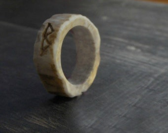 VIKING ANTLER RUNE RiNG. Rustic Norse Mens Rune Ring Deer Antler Handmade Native Tribal Made to order in your size with choice of runes