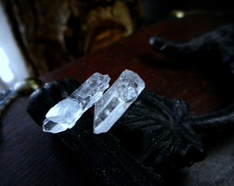 The Mystic no. 4, Clear  Rough Quartz Crystal and titanium post earrings - Stone Temples Collection