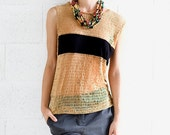LAST SALE 50% off!!!! under 50, Net shirt with a black stripe in camel