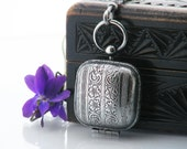 Antique Sovereign Case | Sterling Silver Coin Case Locket | Black Patina Silver Coin Case - 34 Inch Long Chain and Sterling Silver Fob Clip